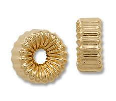 Gold Filled Corrugated Flat Rondelles