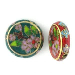 Flat Round Cloisonne Beads