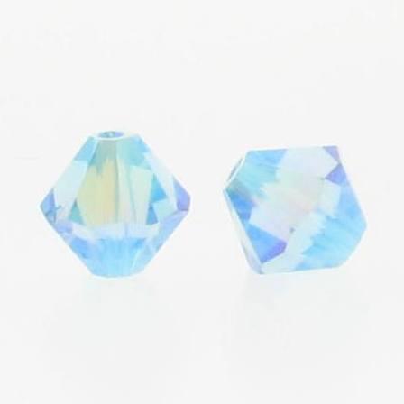 5301/5328 - 6mm Swarovski Bicone Crystal Bead - Aquamarine AB2X