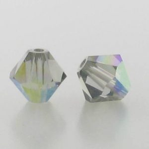 5301/5328 - 6mm Swarovski Bicone Crystal Bead - Black Diamond AB