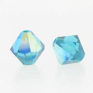 5301/5328 - 3mm Swarovski Bicone Crystal Bead - Blue Zircon AB