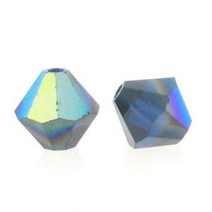 5301/5328 - 6mm Swarovski Bicone Crystal Bead - Dark Indigo AB