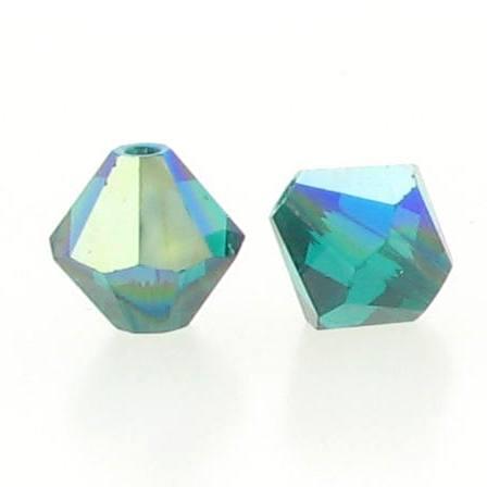 5301/5328 - 6mm Swarovski Bicone Crystal Bead - Emerald AB