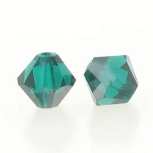 5301/5328 - 6mm Swarovski Bicone Crystal Bead - Emerald Satin