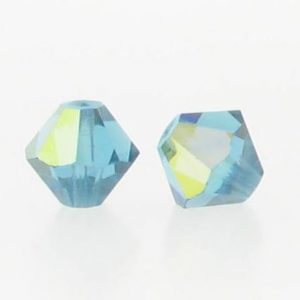5301/5328 - 6mm Swarovski Bicone Crystal Bead - Indicolite AB
