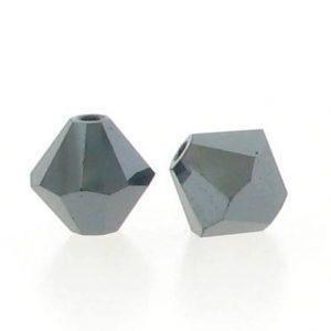5301/5328 - 3mm Swarovski Bicone Crystal Bead - Jet Hematite AB2X