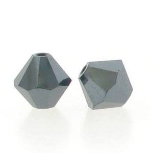 5301/5328 - 6mm Swarovski Bicone Crystal Bead - Jet Hematite AB2X