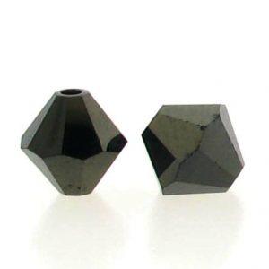 5301/5328 - 3mm Swarovski Bicone Crystal Bead - Jet Nut 2X