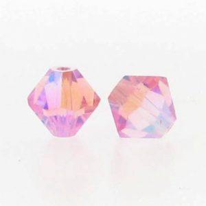 5301/5328 - 3mm Swarovski Bicone Crystal Bead - Light Rose AB2X