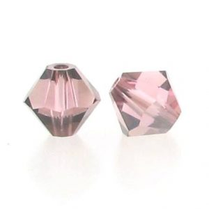 5301/5328 - 3mm Swarovski Bicone Crystal Bead - Light Rose Satin