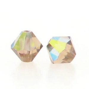 5301/5328 - 6mm Swarovski Bicone Crystal Bead - Light Smoke Topaz AB