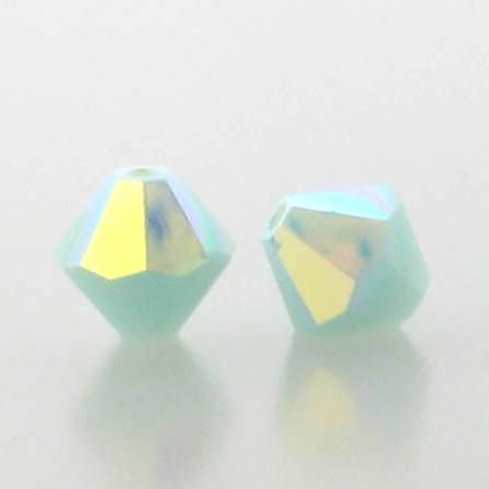 5301/5328 - 6mm Swarovski Bicone Crystal Bead - Mint Alabaster AB