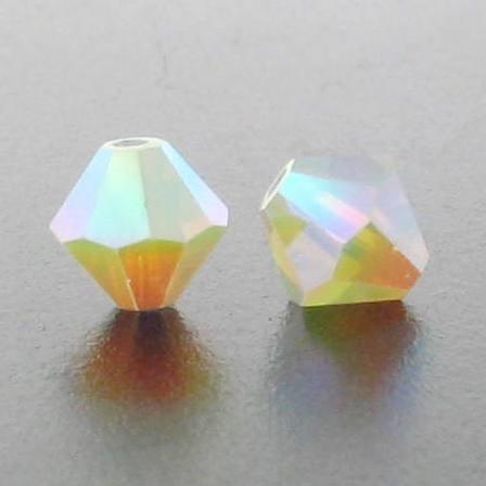 5301/5328 - 6mm Swarovski Bicone Crystal Bead - White Opal AB2X