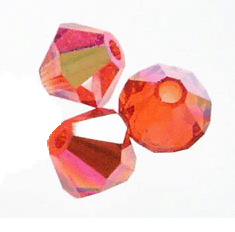 5301/5328 - 4mm Swarovski Bicone Bead - Red Topaz AB