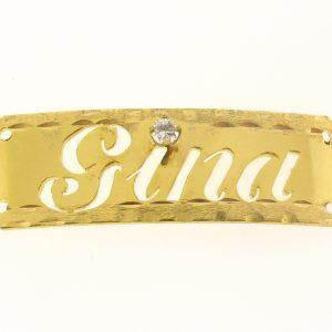 # 9779 - 14K Gold Filled Name Plate For Bracelet - Gina