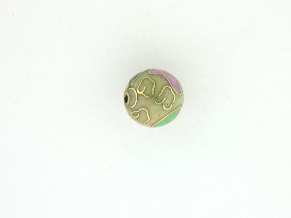 6018C - 18mm Round Cloisonne Bead - Pale Yellow