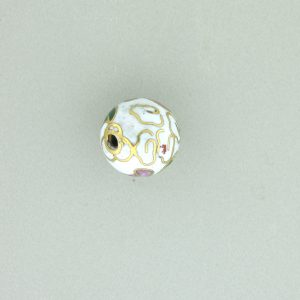 6018C - 18mm Round Cloisonne Bead - White
