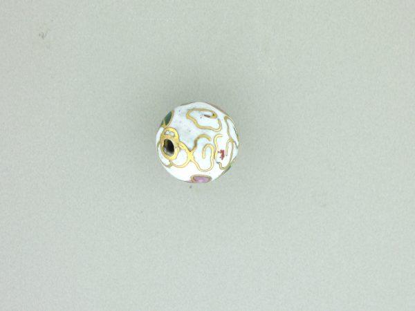6024C - 24mm Round Cloisonne Bead - White