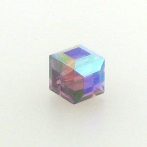 5601 - 6mm Swarovski Cube Crystal - Amethyst AB