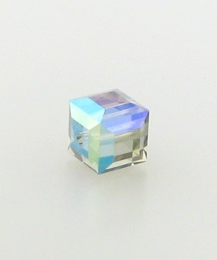 5601 - 6mm Swarovski Cube Crystal - Black Diamond AB