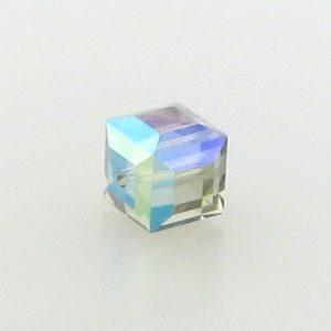 5601 - 4mm Swarovski Cube Crystal - Black Diamond AB