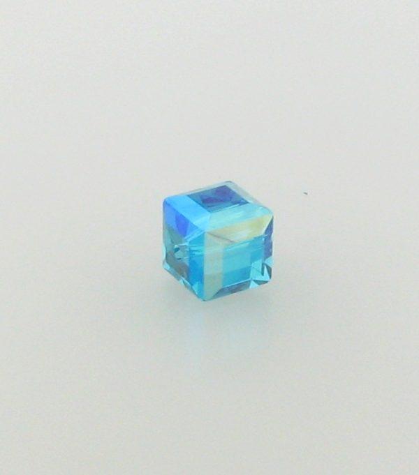 5601 - 6mm Swarovski Cube Crystal - Blue Zircon AB