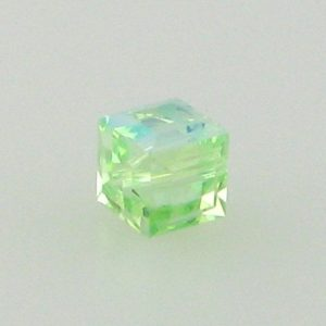 5601 - 6mm Swarovski Cube Crystal - Chrysolite AB