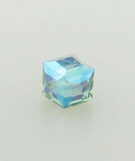 5601 - 6mm Swarovski Cube Crystal - Erinite AB