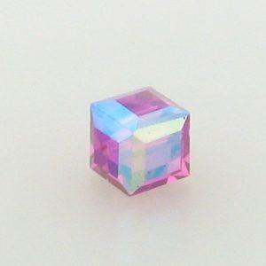 5601 - 6mm Swarovski Cube Crystal - Fuchsia AB