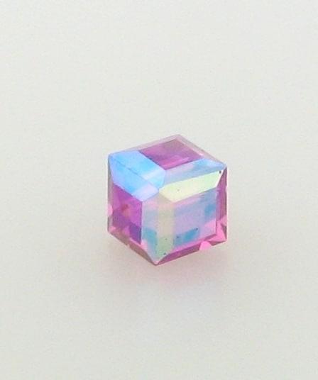 5601 - 4mm Swarovski Cube Crystal - Fuchsia AB