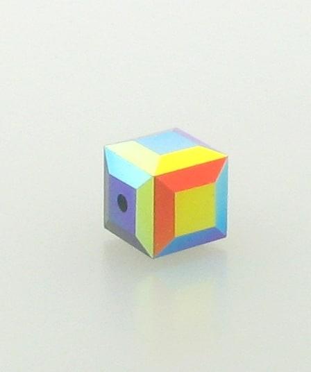 5601 - 6mm Swarovski Cube Crystal - Jet AB