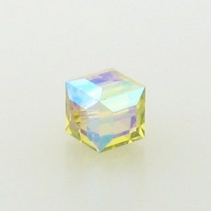 5601 - 6mm Swarovski Cube Crystal - Lime AB