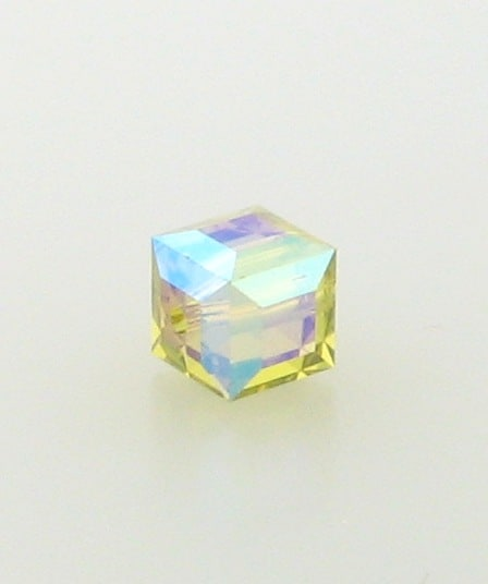 5601 - 6mm Swarovski Cube Crystal - Lime AB