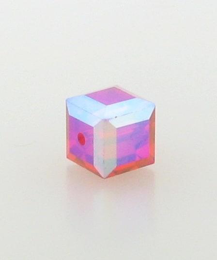5601 - 6mm Swarovski Cube Crystal - Light Siam AB