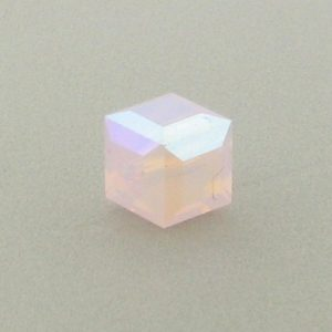 5601 - 6mm Swarovski Cube Crystal - Rose Water Opal AB