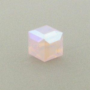 5601 - 4mm Swarovski Cube Crystal - Rose Water Opal AB
