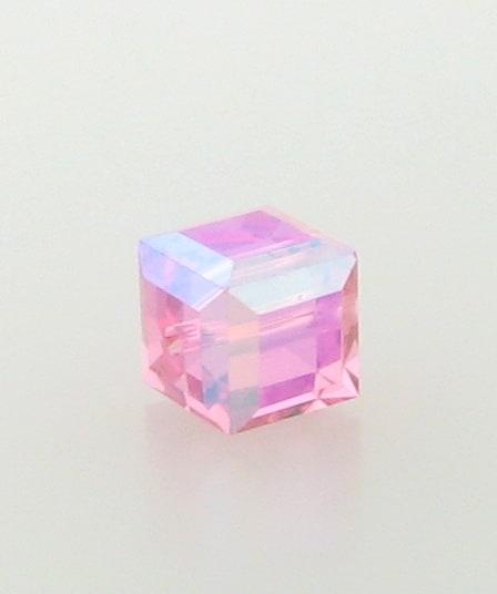 5601 - 4mm Swarovski Cube Crystal - Rose AB