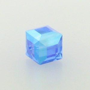 5601 - 6mm Swarovski Cube Crystal - Sapphire AB