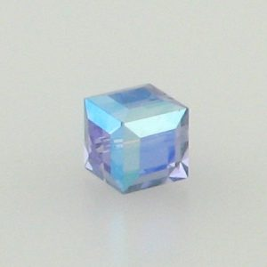 5601 - 6mm Swarovski Cube Crystal - Tanzanite AB