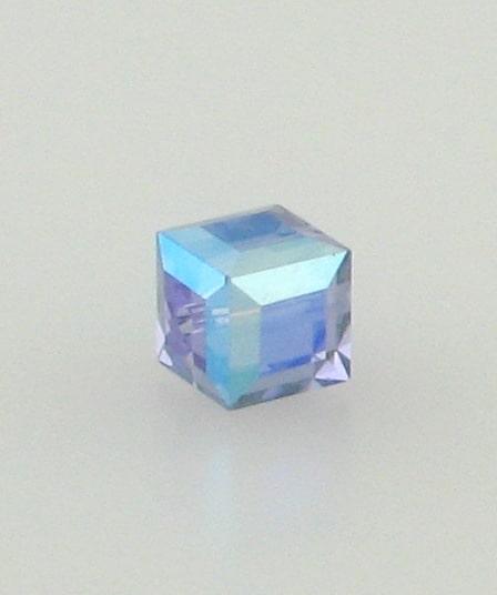 5601 - 6mm Swarovski Cube Crystal - Tanzanite AB