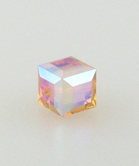 5601 - 6mm Swarovski Cube Crystal - Topaz AB