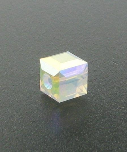 5601 - 6mm Swarovski Cube Crystal - White Opal AB