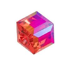 5601 - 4mm Swarovski Cube Crystal - Light Siam Shimmer