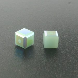 5601 - 4mm Swarovski Cube Crystal - Mint Alabaster AB