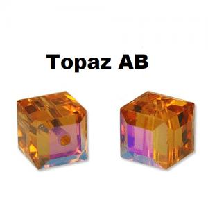5601 - 10mm Swarovski Cube Crystal - Topaz AB