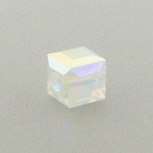 5601 - 4mm Swarovski Cube Crystal - White Opal AB