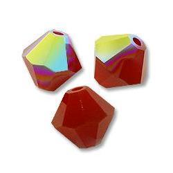 5301/5328 - 8mm Swarovski Bicone Crystal Bead - Dark Red Coral AB