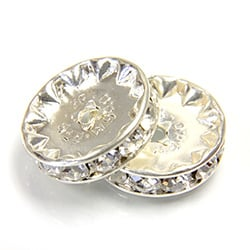 3614S - 14mm Rhinestone Silver Plated - Crystal