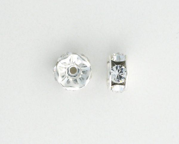3610S - 10mm  Swarovski Rhinestone Silver Plated Rondelle - Crystal