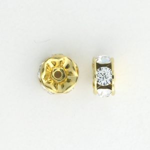 3608 - 8mm Rhinestone Gold Plated - Crystal